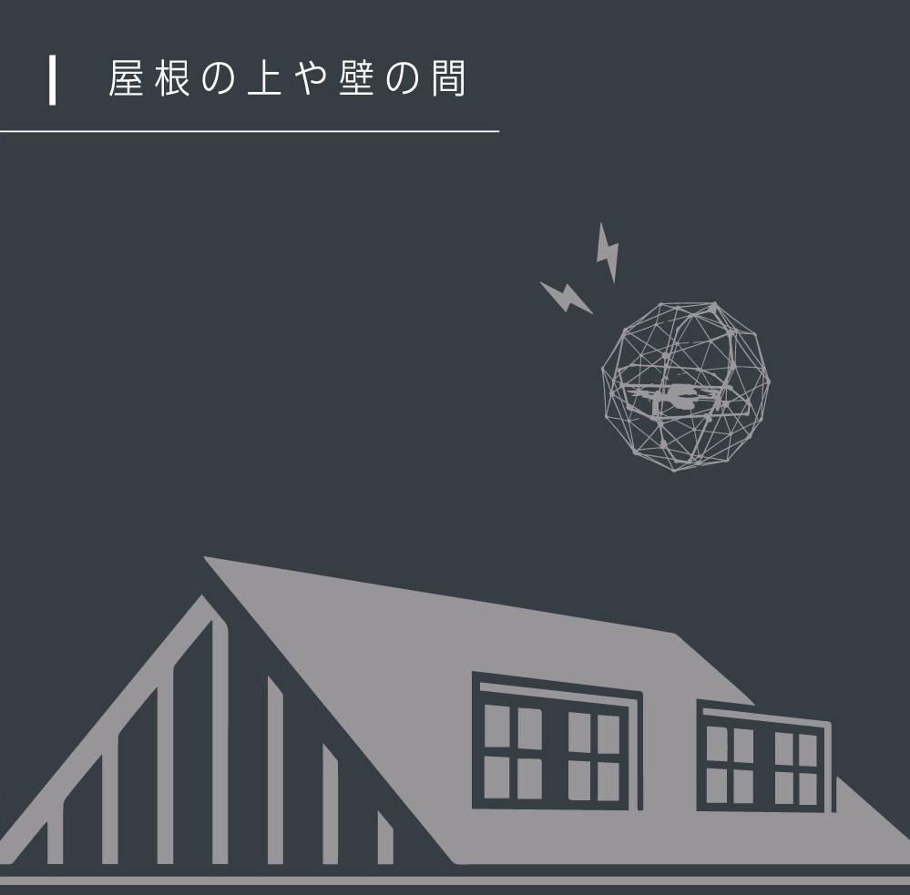 屋根の上や壁の間